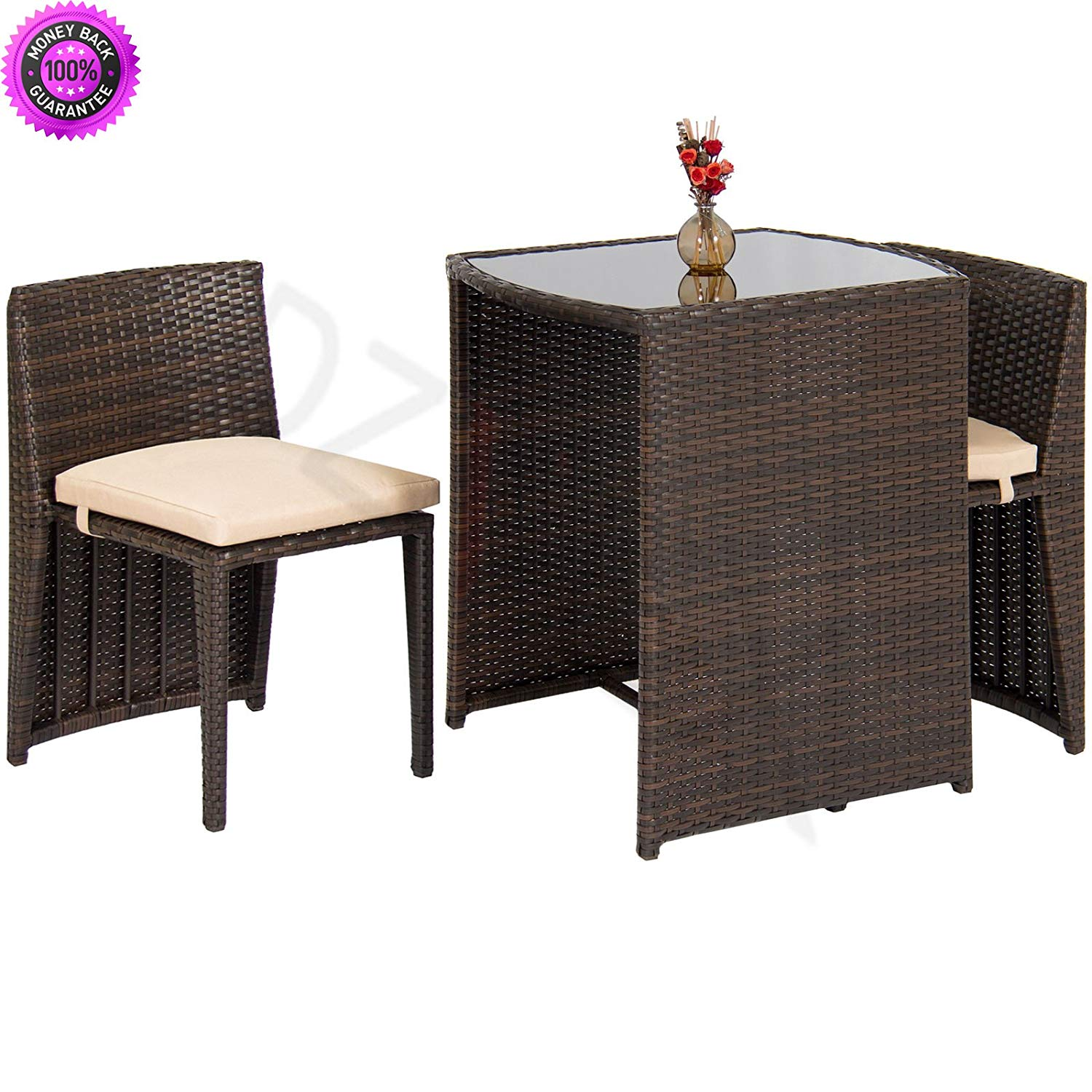 DzVeX Outdoor Patio Furniture Wicker 3pc Bistro Set Glass Top Table, 2 Chairs- Brown And patio furniture target small patio furniture patio furniture outdoor furniture clearance patio dining