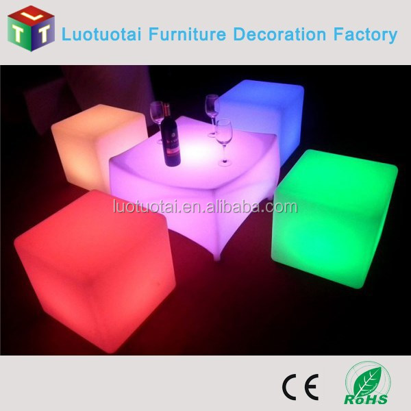 Chair led factory plastic cube seating illuminated led cube chair
