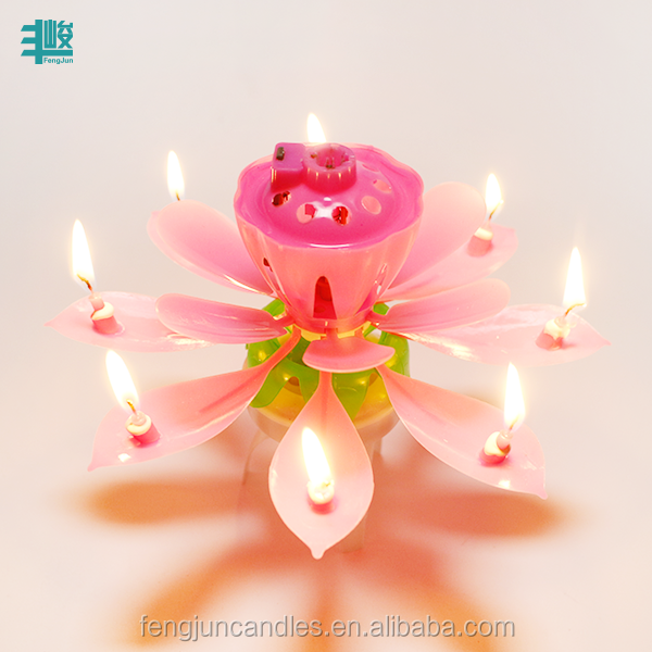 Wholesale Double Layer Unique Opening Footed Lotus Flower Magic Battery Cake Play Music Rotation Birthday Candle
