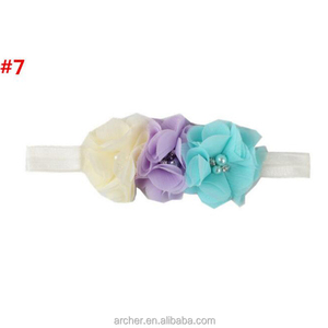 Three flower connection Chiffon rose crystal hair wholesale accessories baby headband hair accessories HA-1120