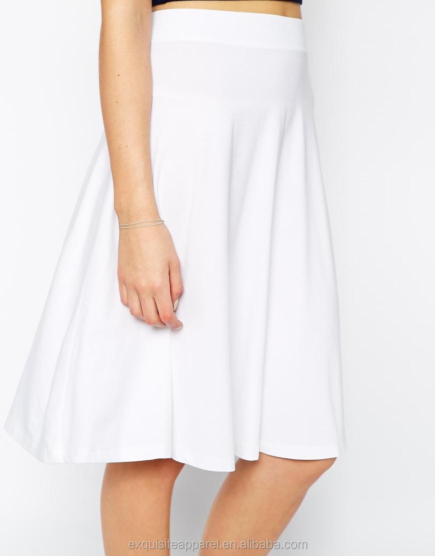 5d8526379e Custom White Elegant Midi Skirt Design for Girls/Plain White Cotton Skirts/ Women Umbrella Skirt