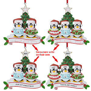 Personalized writing names resin hanging decoration tree Christmas ornaments