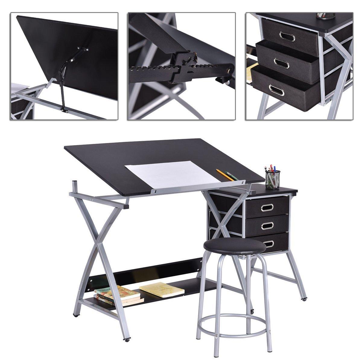 Wondrous Buy Adjustable Folding Drafting Drawing Table Desk Black Creativecarmelina Interior Chair Design Creativecarmelinacom