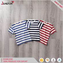 Cheap round neck white and blue stripe kids t-shirt, Tshirt manufacturing