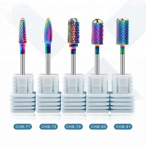"Misscheering Rainbow Tungsten Carbide Nail Drill Bit 3/32"" Foot Cuticle Burr Bit For Manicure Nail Drill Accessories Gel Removal"