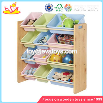Wholesale Simple Style Wooden Storage Rack Delicate Wooden Bin Organizer  Toy Storage Rack With 12pcs Plastic