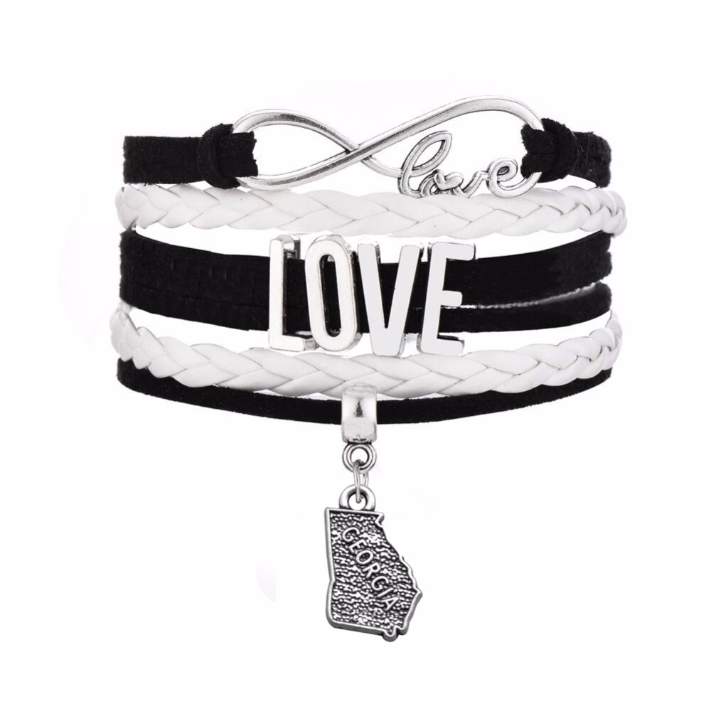 Infinity Love Lobster Clasps Georgia Map Charm Handmade Leather Wrap Bracelet for Women&Men