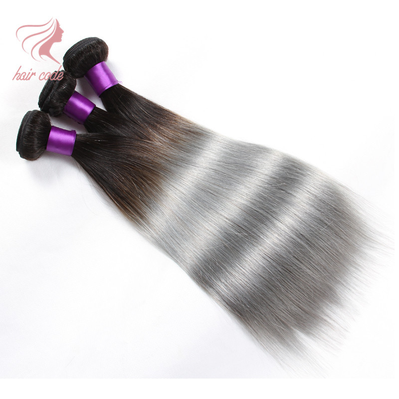 Brazilian Virgin Hair Straight Grey Hair Weave Silver Grey Human Hair Extensions 3 Pcs Brazilian Straight Hair Ombre Grey Weave