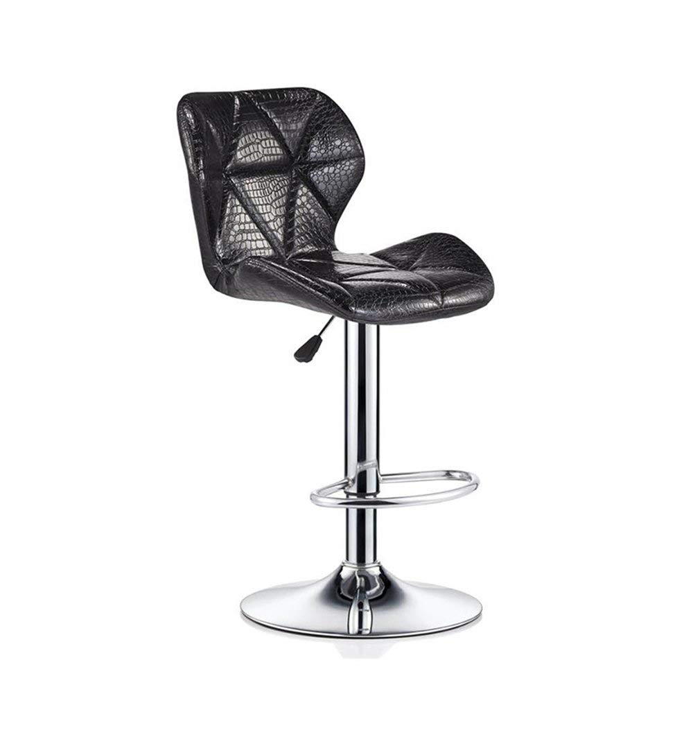 Black Bar Stools Bar Kitchen Breakfast Stool Dining Chair with Backrest Bar Chair High Stool Swivel Counter Chair Adjustable Height