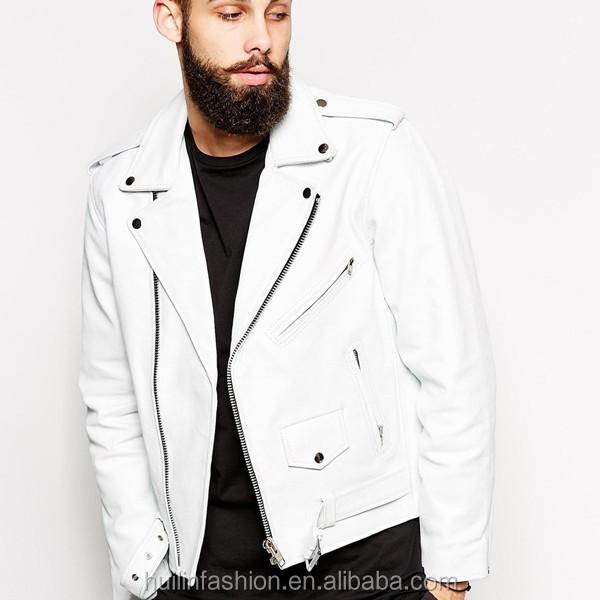 2015 New Classic White Leather Jacket Mens Bomber Jacket Wholesale ...