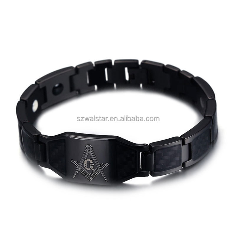 12MM wide titanium carbon Masonic magnetic health bracelet black and silver bracelet