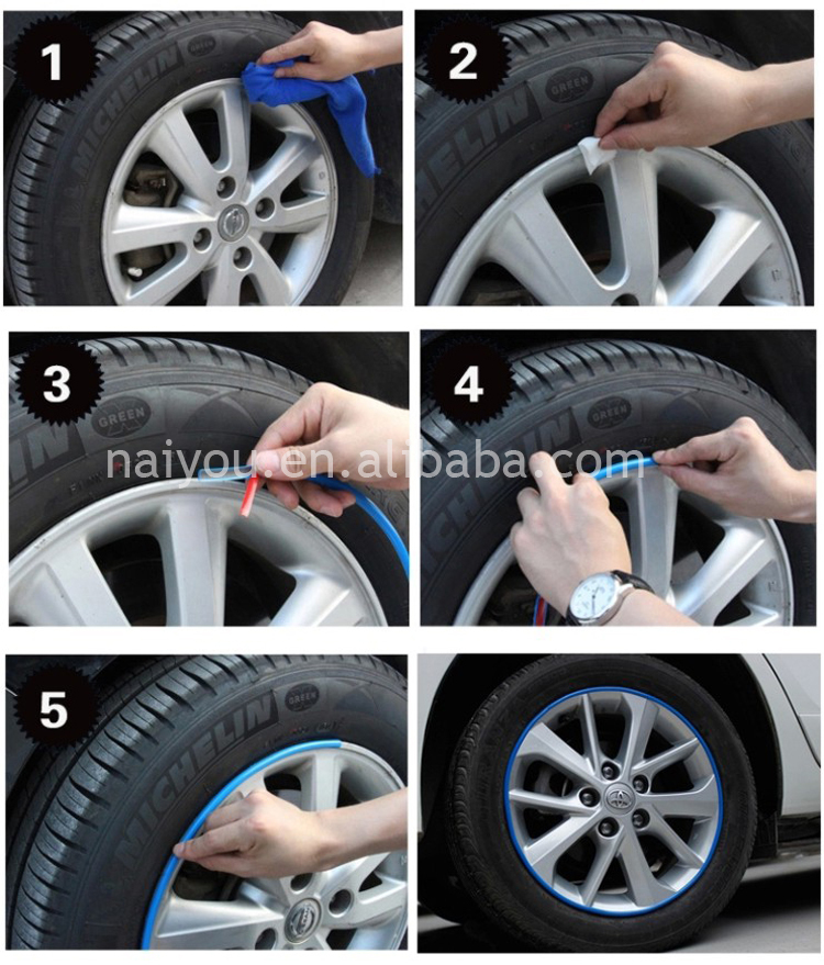 10mm*7m Automotive Alloy Rubber Wheel Rim Protector with 3M ...