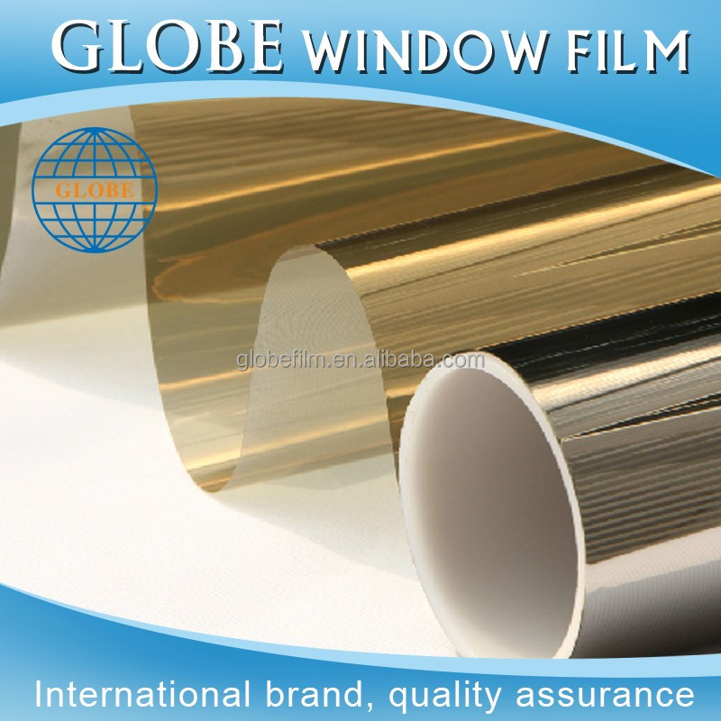 Best sale block sun heat decorative window film for home with gold-silver color