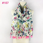 Bright neon color Spring Summer butterfly print tassel scarf stock