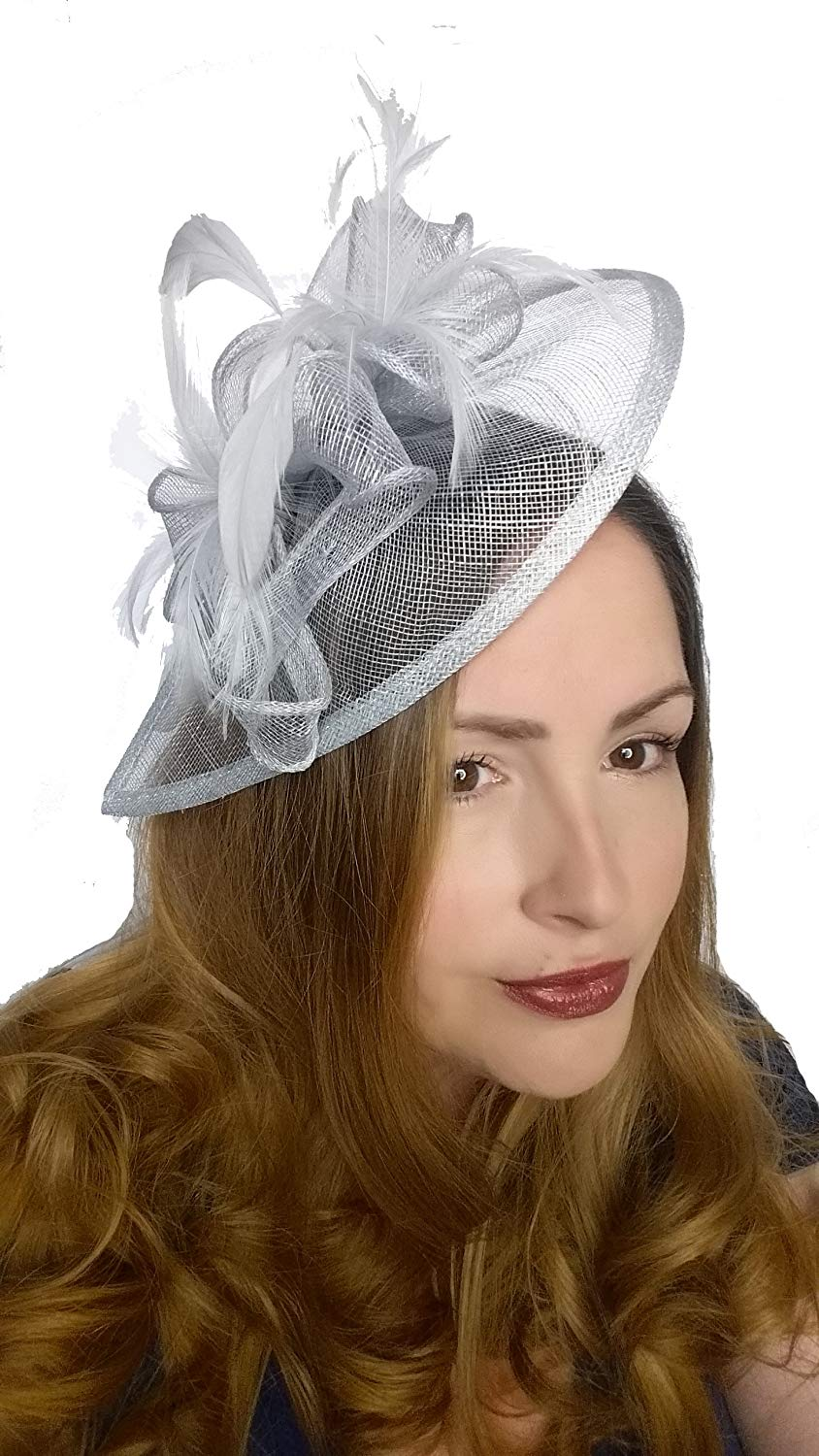 1b7c0720 Get Quotations · Martha Rose Boutique Pale Blue Sinamay & Feather Teardrop Hat  Fascinator - Occasion Wedding Races
