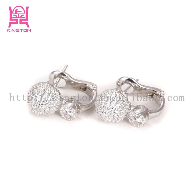 China factory white ball zircon earrings with 925 sterling silver