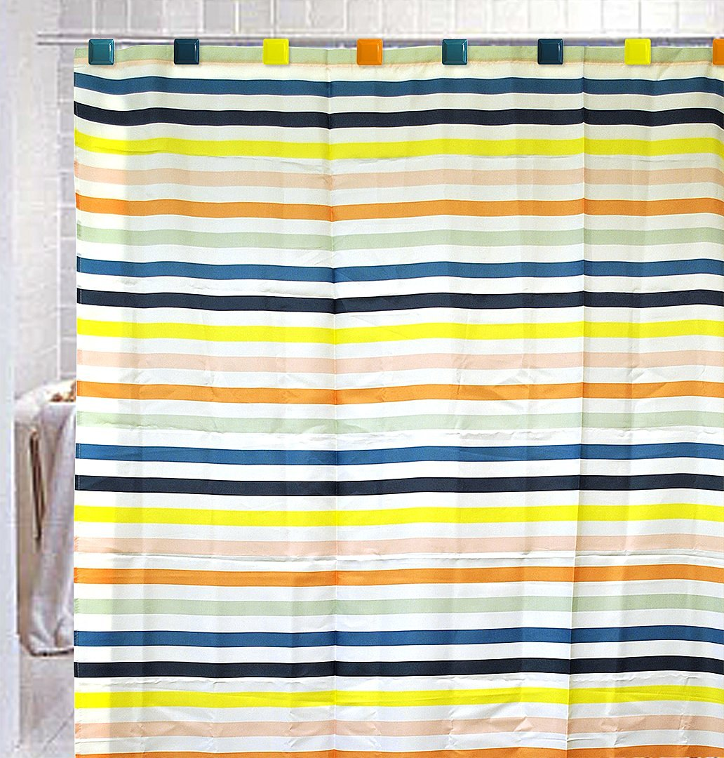 Florida Brands Multiple Color Stripe Design Shower Curtain Set
