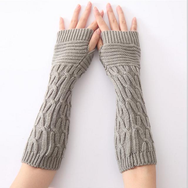 Knitted Long Arm Gloves Warmer Wool Fingerless Ankle Glove Half Sleeves