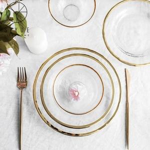 Gold rim glass charger plates dinnerware set fruit service glass dinner plate for wedding banquet