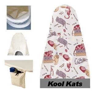Ironing Board Cover & Pad One-Piece Deluxe (54x14) Kool Kats - Household Essentials #2001-25 by Household Essentials
