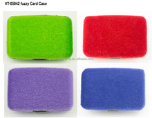 Fashionable Fuzzy RFID blocking credit card case holder wallet gift for women