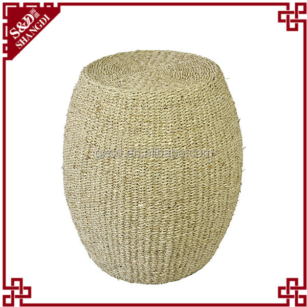 S&d Round Shaped Aquatic Plants Material Woven Garden Stool