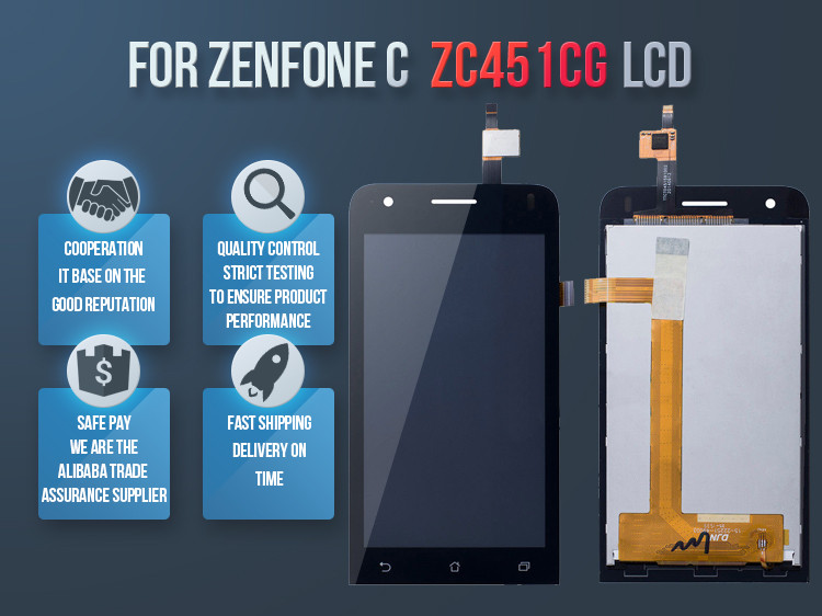 Touch Screen Display Lcd Per For Asus Zenfone C Zc451CG Nero Ricambio ZC451 Z007