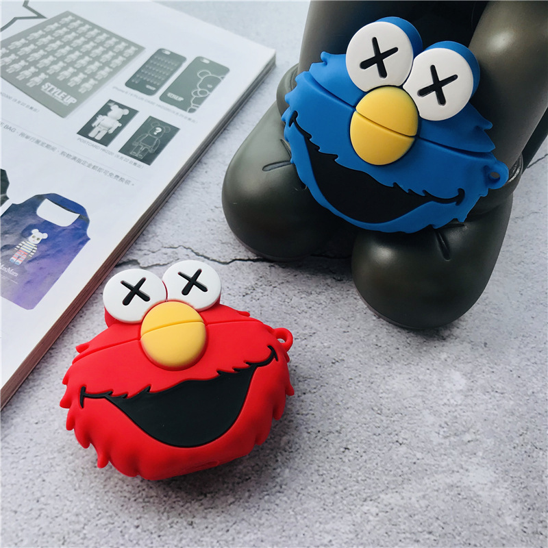 Bluetooth Earphone Case for Airpods 2 1 Cute Shockproof Cover Ring Strap Cartoon Gel 3D Sesame Street фото