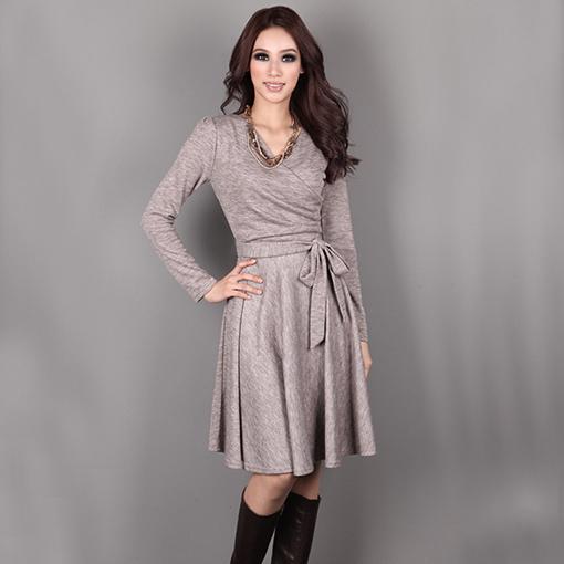 2015 весна осень зима мода платье женщины кросс v-образным вырезом с длинными рукавами сексуальный тонкий свободного покроя платье Vestidos De Invierno M-XL D34061W