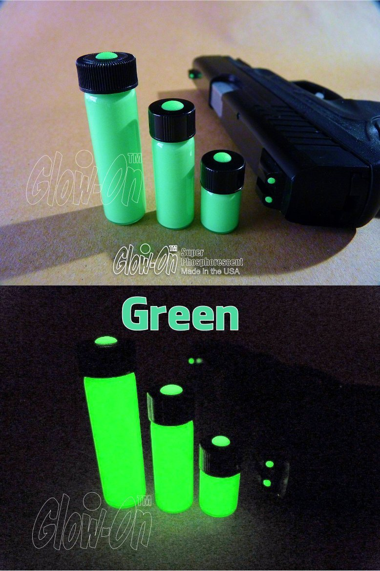 GLOW-ON Green, Super Phosphorescent Gun Nights Sights Paint. Economy Size 9.2 Ml Vial. Green Color/Green Glow. Gold standard of glow paints. Super bright long lasting glow.