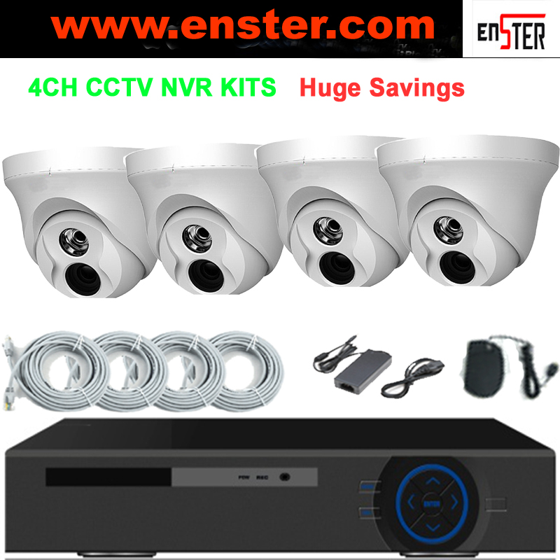 ENSTER H.264 4pcsDome Cameras 4CH NVR Kit CCTV Surveillance Security Camera System NVR Kits