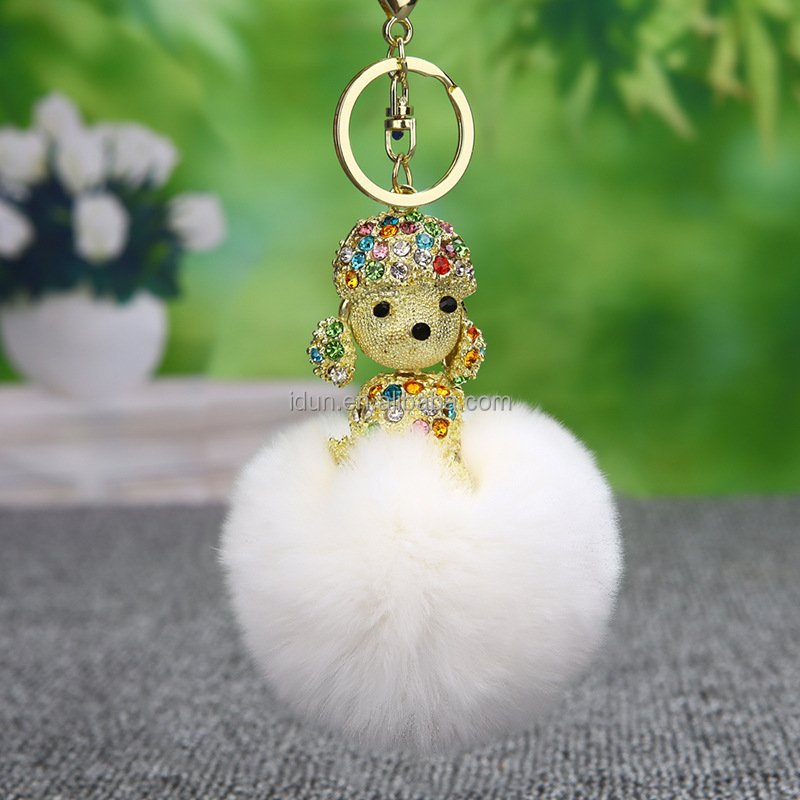 "Poodle Dog Charm Pendant Necklace 17/"" Chain 2 Colors Sparkling Crystal"