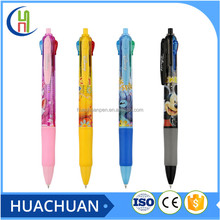 multi color 4 color clip ballpoint pen with heat transfer