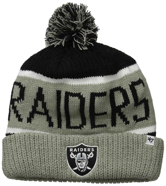 brand new 7bc0d 553e3 47 Brand Hats Men s The Oakland Raiders Calgary Pom Beanie