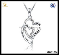 I Love You Engrave Jewellery Pure Sterling Silver Double Love Heart Pendant Necklace