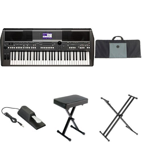 Yamaha PSR-S670 61-Key Arranger Workstation with Yamaha Stand, Bench, Case, Sustain Pedal, and MIDI Adapter