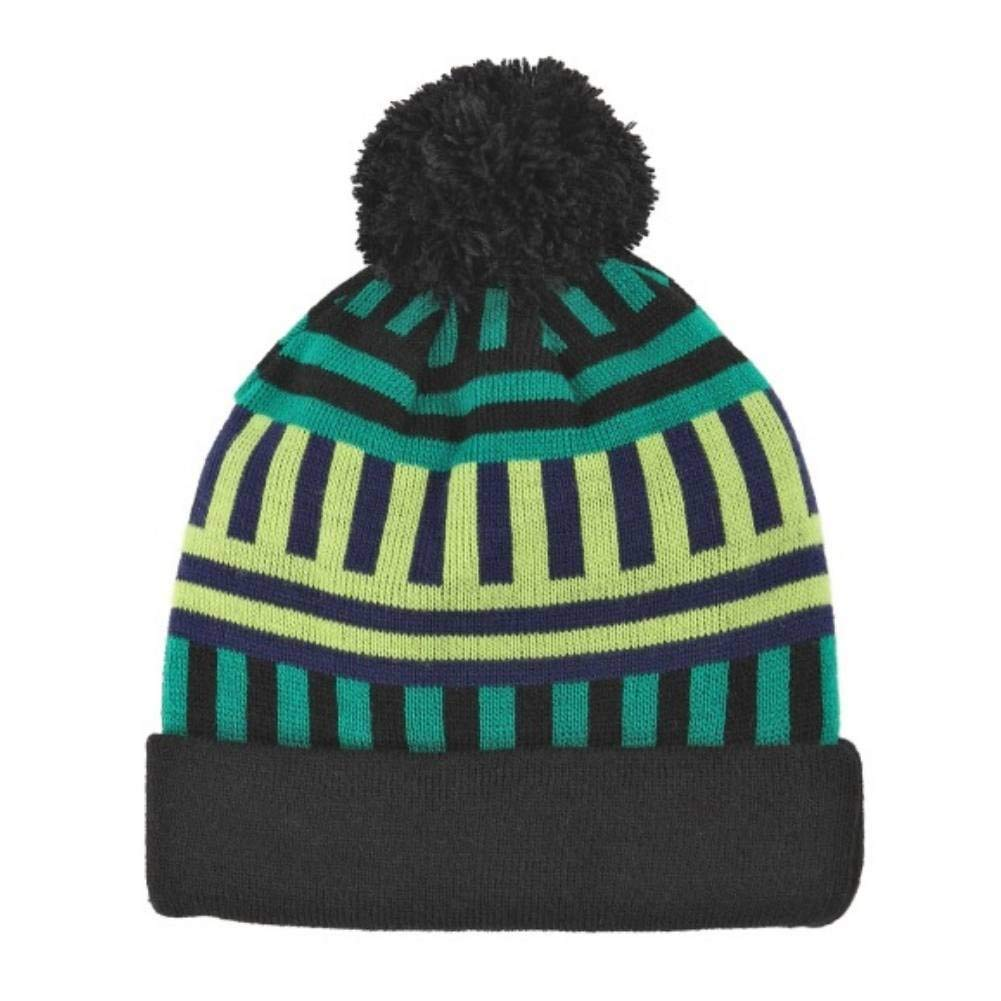 Get Quotations · Aquarius Geormetric Green   Black Striped Beanie Pom Pom Hat  Stocking Cap ebe84321e7a4