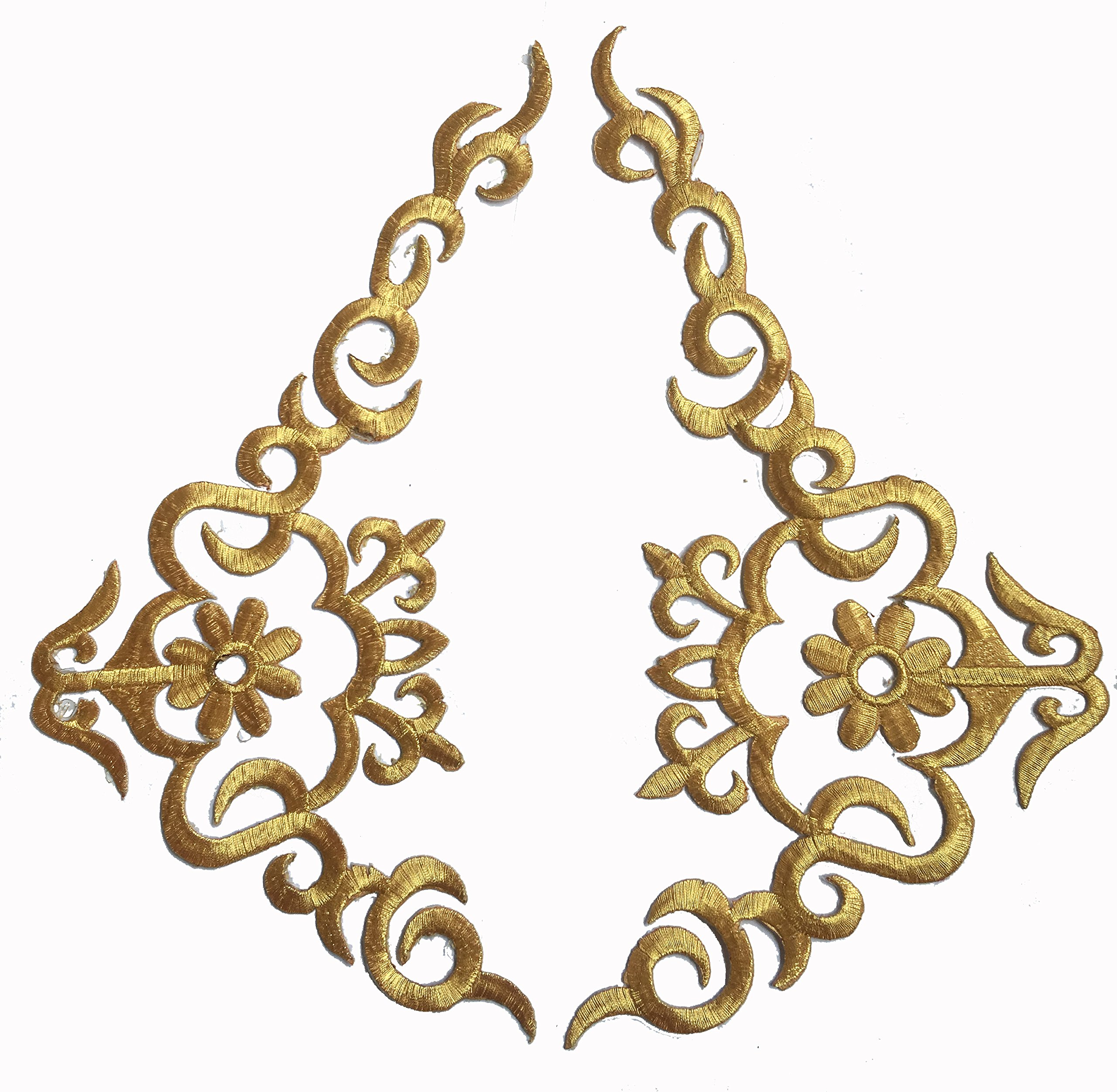 Two Hug Gold Flower Leaves Iron on Embroidered Appliques Patch Flower Motifs, Craft, Sewing, Embroidery Patches, Embroidered Lace Fabric Ribbon Trim Neckline Collar (Gold)