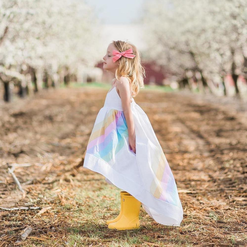Latest western white summer rainbow kids suspender dress wholesale RL190020 фото