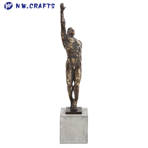 Antique Copper-colored Standing Strong Man Resin Statue Muscle Male Figurine Desk Decor