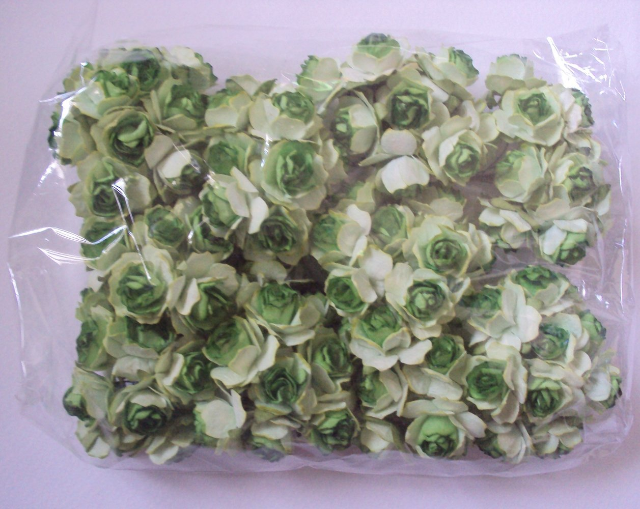 Agility 100 pcs. Green & White (Two-Tone) Artificial Mulberry Paper Rose Flower Wedding Scrapbook 2.0cm DIY Craft Scrapbook Scrapbooking Bouquet Craft Stem Handmade Rose Valentines Anniversary Embellishment