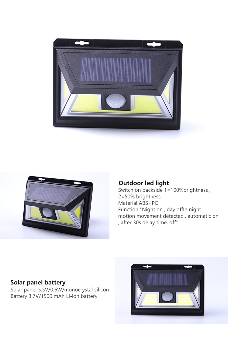 Wholesale 5.5v new design COB portable battery operated outdoor led solar sonser work night light