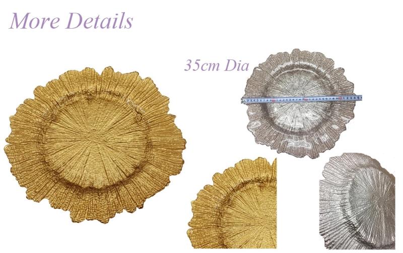 PZ29000 gold glas floral form china hersteller ladeteller hochzeit