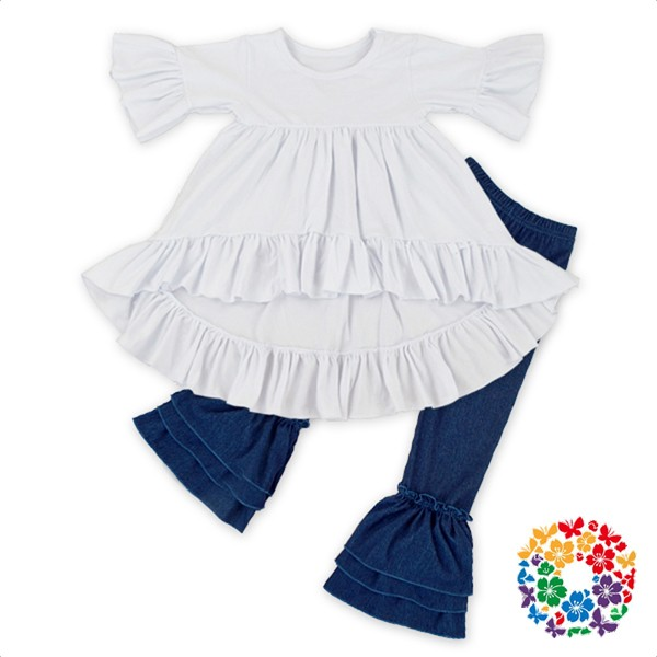 Spring New Baby Set Organic Cotton Plain Dress And Ruffle Jeans Designs