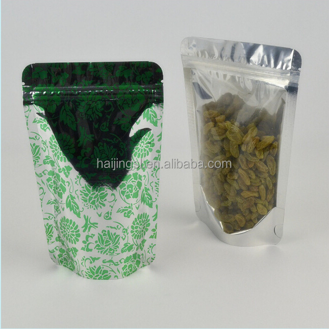 Metallic Aluminum Ziplock Stand up Pouch/Foil Zip lock Bag / One-side Clear Resealable Stand Up Zipper