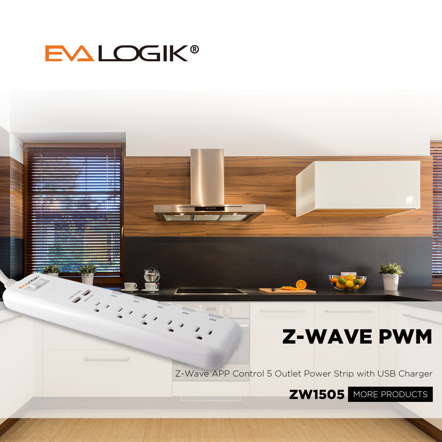 ZW1505 Z-Wave App Remote Control Smart Plug 5 Outlet Relay Power Strip With  USB Charger, View remote control electric smart plug wall power outlet,