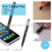 4 in 1 metal multifunction pen in gift box flashlight stylus pen (ballpen+led+laser+touch stylus)