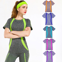YOUME 6 colors Women Sport Clothing Yoga Shirts Sport T-shirt Quick Dry Breathable Running Short Sleeve Yoga Tops Fitness Sport
