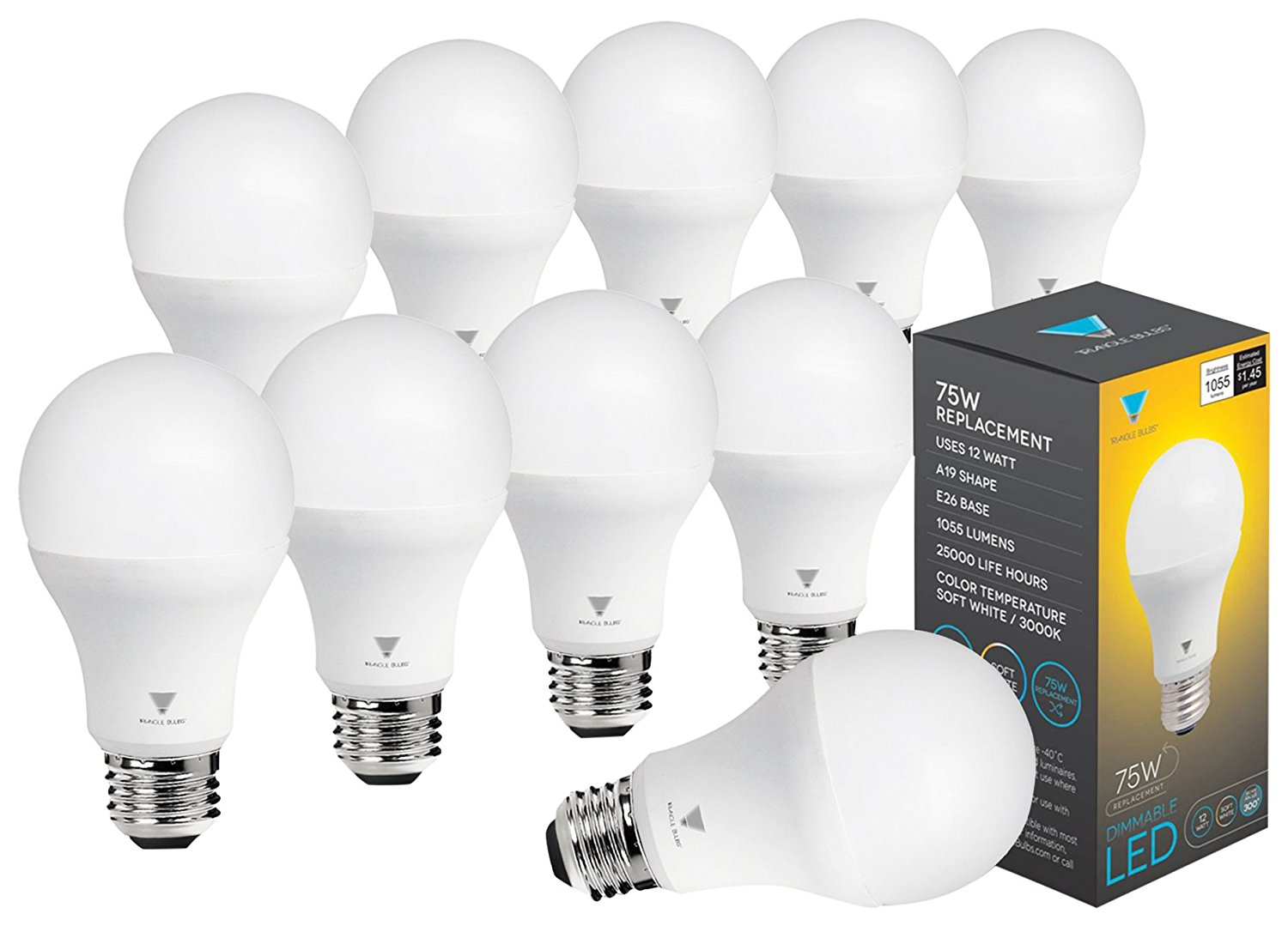 Triangle Bulbs (Pack of 10) LED Dimmable 12 Watt A19 LED Bulb, 1055 Lumens Soft White (3000K) 75 Watt Incandescent Light Bulb Replacement