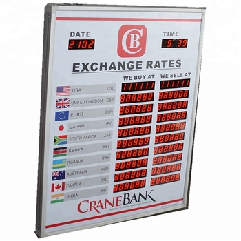 Foreign Currency Exchange Led Indoor Display Digital Rate Board